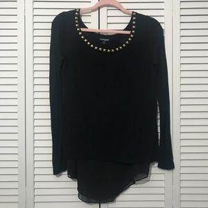 EXPRESS Gold Studded Black Layered Tunic Sweater M